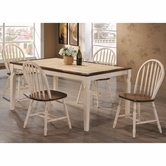 Coaster 104381-82 DARK-OAK-ANTIQUE-WHITE DINING-TABLE-CHAIR DINING SET