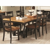 Coaster 104611-12 OAK-BLACK DINING-TABLE-Chair Dining Set