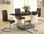 Coaster 105301-03 CHROME-DINING-TABLE-BLACK-WHITE-CHAIR Dining Set