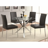 Coaster 120760-67BLK DINING-TABLECHROME-CHAIRBLACK Set