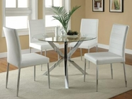 Coaster 120760-67WHT DINING-TABLECHROME-CHAIRWHITE Set