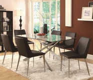 Coaster 120971-4x72 Anderson Contemporary Dining Set with Tempered Glass Table