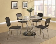 Coaster 120990-4X92 Ciccone Contemporary Glass Dining Table and Chairs