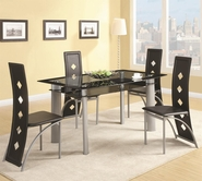 Coaster 121051-4X52 Fontana Glass Top Table with Vinyl Chair Set