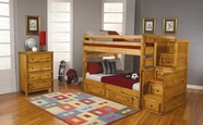 Coaster 460096-97-98 Full Bunk Bed Group in Amber Wash Finish