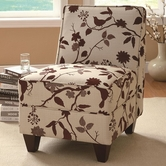 Coaster 460408 ACCENT CHAIR (BURGUNDY BIRDS PATTERN)