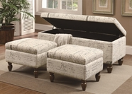 Coaster 508015 STORAGE BENCH / OTTOMAN (FRENCH SCRIPT PATTERN)