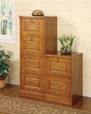 Coaster 5317N-18N Oak Finish Drawer File Cabinet Set