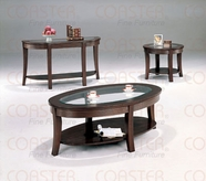 Coaster 5524-25-26 Cappuccino Glass Occasional Table Set