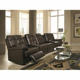 Coaster 600137AC-LR-W-XRR Grace 4 Person Reclining Home Theater Seating with Consoles, Cup Holders and Tufting