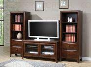 Coaster 700281-82 Walnut Media Collection Small TV Stand & Towers