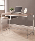 Coaster 801161 COMPUTER DESK (WOOD LOOK/CHROME)