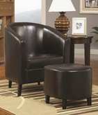 Coaster 900240 ACCENT CHAIR / OTTOMAN (DARK BROWN)