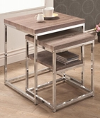 Coaster 901078 NESTING TABLE (RECLAIMED WOOD/CHROME)