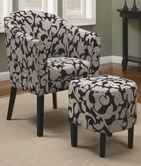 Coaster 902062 ACCENT CHAIR / OTTOMAN (CHARCOAL FLORAL PATTERN)