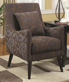 Coaster 902086 ACCENT CHAIR (BROWN/BLUE LEAF PATTERN)