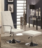 Coaster 902110 ACCENT CHAIR / OTTOMAN (WHITE/CHROME)