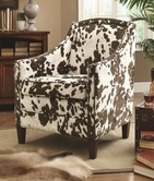 Coaster 902134 ACCENT CHAIR (BROWN/WHITE COW PATTERN)