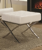 Coaster 902184 OTTOMAN (WHITE/CHROME)