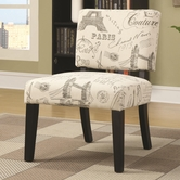Coaster 902190 ACCENT CHAIR (BEIGE/ANTIQUE FRENCH GRAPHIC)