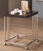 Coaster 902817 SNACK TABLE (HIGH GLOSS BLACK/CHROME)