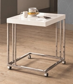 Coaster 902818 SNACK TABLE (HIGH GLOSS WHITE/CHROME)