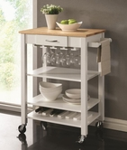 Coaster 910025 KITCHEN CART (WHITE/NATURAL)