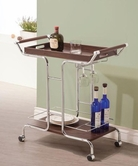 Coaster 910065 SERVING CART (BROWN/CHROME)