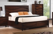 Coaster Loncar 203101Q QUEEN WAVE BED (JAVA OAK)