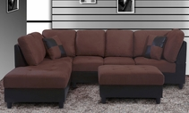 Chocolate Microfiber/Espresso Bycast Pu Sectional F20A  with Free Ottoman