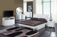 Global Furniture EMILY-WH-QB-DR-MS Emily White Glossy Bedroom Set