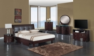 Global Furniture EVELYN-W-QB-DR-MS Wenge Glossy Bedroom Set