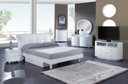 Global Furniture EVELYN-WH-QB-DR-MS White Glossy Bedroom Set
