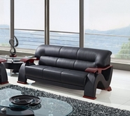 Global Furniture U2033-BL-S Black Bonded Leather Sofa