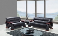 Global U2033-Bl-S+L Black Bonded Leather Sofa And Loveseat