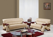 Global U2033-Capp-S+L Cappuccino Bonded Leather Sofa And Loveseat