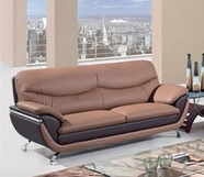 Global Furniture U2106-S Br/Dk Brown Bonded Leather Sofa