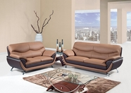 Global U2106-S+L Br/Dk Brown Bonded Leather Sofa And Loveseat
