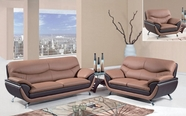 Global Furniture U2106-S+L+C Br/Dk Brown Bonded Leather Sofa And Loveseat And Chair