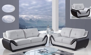 Global U3250-Gr/Bl-S+L+C Bonded Leather Sofa And Loveseat And Chair