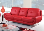 Global Furniture U4120-RED-S Bonded Leather Sofa