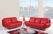 Global Furniture U4120-RED-S+L Bonded Leather Sofa And Loveseat