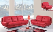 Global Furniture U4120-RED-S+L+C Bonded Leather Sofa And Loveseat And Chair