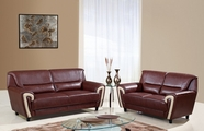 Global Furniture U4180-S+L Br/Bei Bonded Leather Sofa And Loveseat