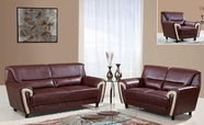 Global Furniture U4180-S+L+C Br/Bei Bonded Leather Sofa And Loveseat And Chair