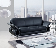 Global Furniture U559-BL-S Black Leather Match Sofa