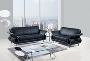 Global U559-Bl-S+L Black Leather Match Sofa And Loveseat