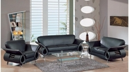 Global U559-Bl-S+L+C Black Leather Match Sofa And Loveseat And Chair