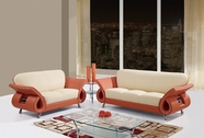 Global U559-S+L Beige/Orange Leather Match Sofa And Loveseat