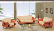 Global Furniture U559-S+L+C Beige/Orange Leather Match Sofa And Loveseat And Chair